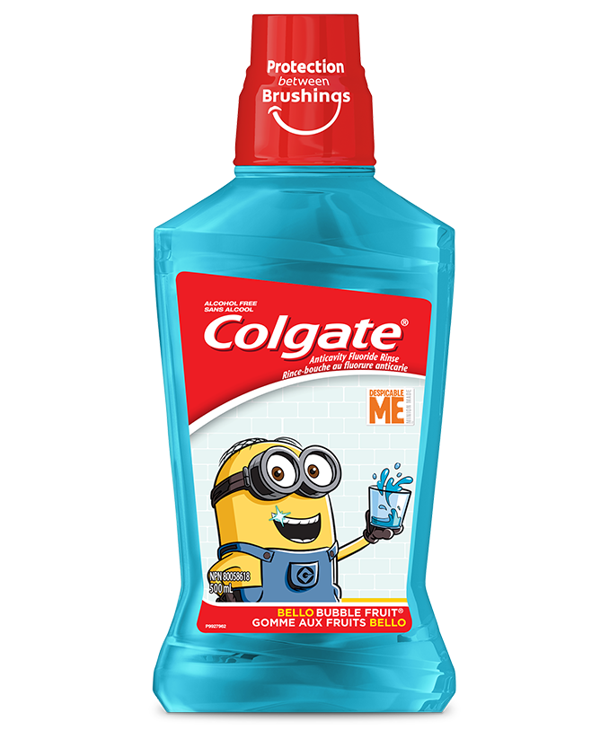 Packshot of Colgate<sup>®</sup> Minions<sup>™</sup> Bello<sup>™</sup> Bubble Fruit<sup>®</sup> Mouthwash