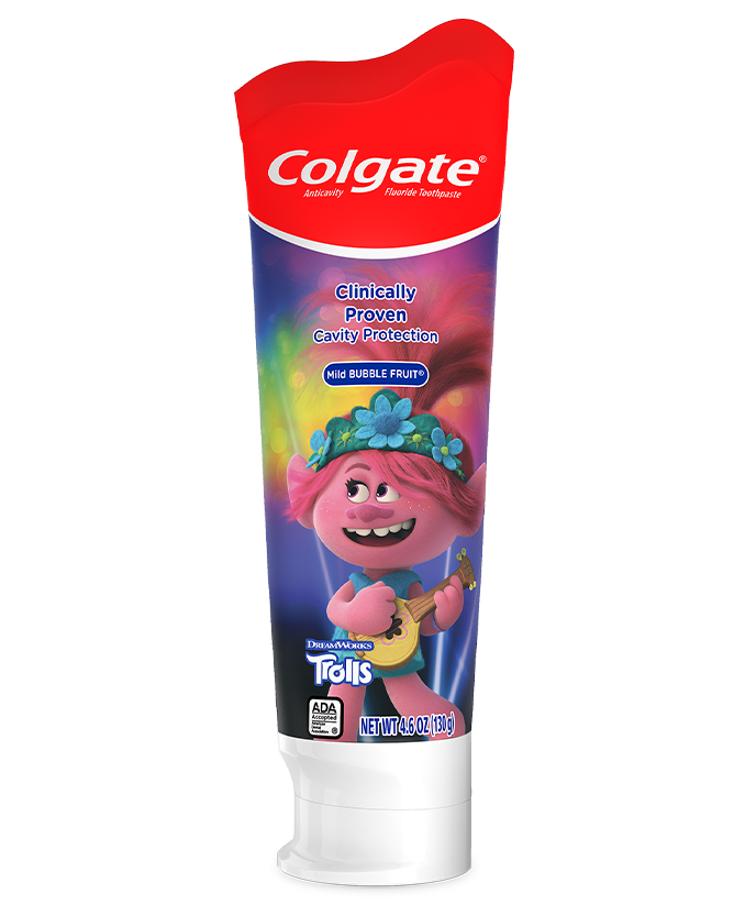 Packshot of Colgate<sup>®</sup> Trolls<sup>™</sup> Mild Bubble Fruit<sup>®</sup> Toothpaste