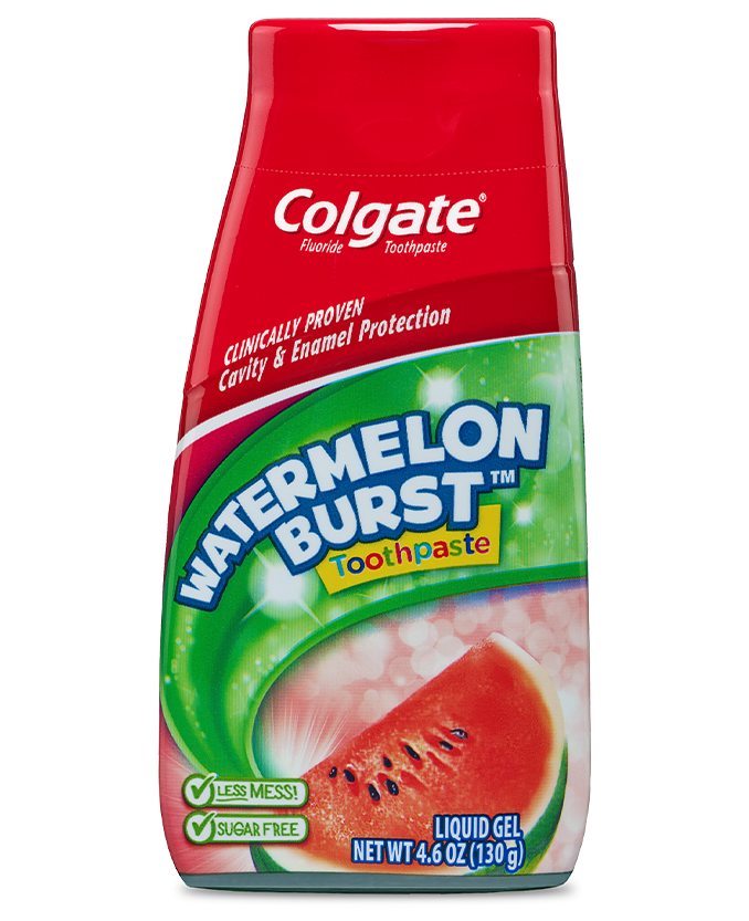 Packshot of Colgate<sup>®</sup> Kids 2in1 Watermelon Burst<sup>™</sup> Toothpaste