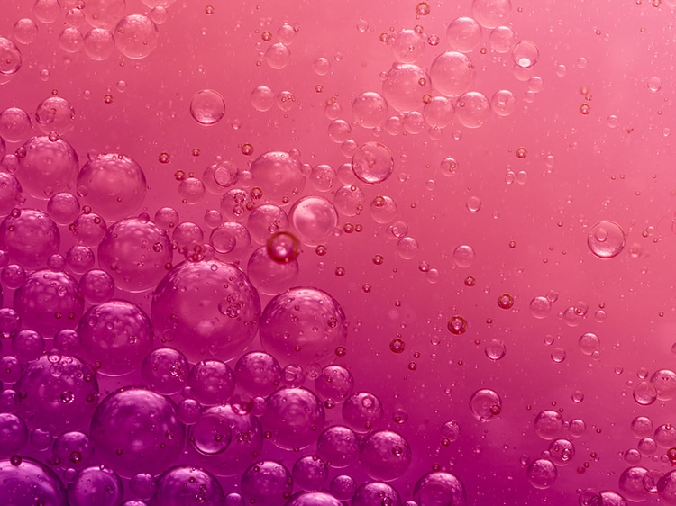 bubbles against a red gradient background