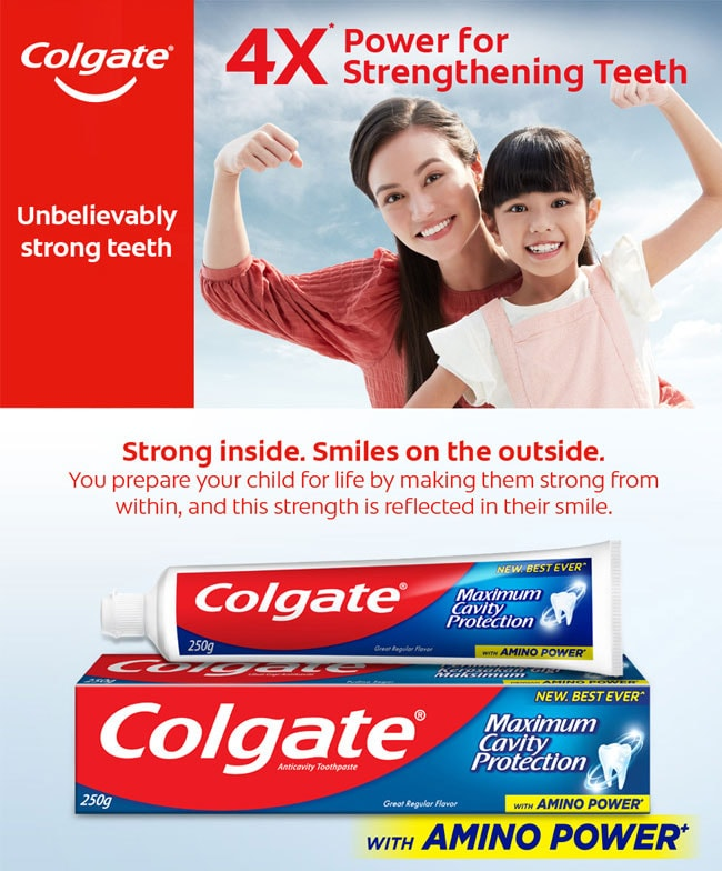 colgate maximum cavity protection four times strengthening mom daughter