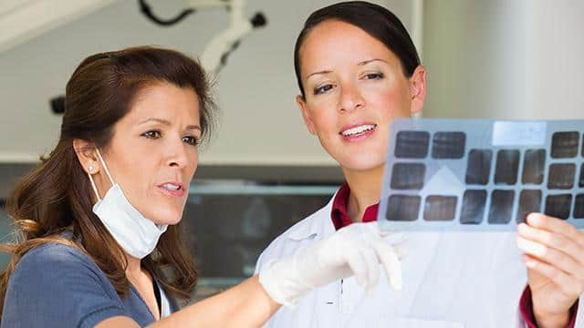 Dentist and nurse looking at x-rays