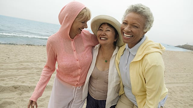 Three Senior Women Walking on a Beach