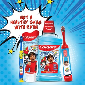 Colgate is thrilled to share that we have partnered with top YouTube toy reviewer and Nickelodeon star, Ryan's World, for a new line of kid's oral card products. Designed with the help of Ryan himself, the Colgate® Ryan's World™ Kids Oral Care Regimen features three products including a Power Toothbrush, Toothpaste and Mouthwash to get little ones excited about brushing time.