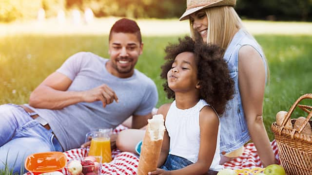 Happy family enjoying picnic