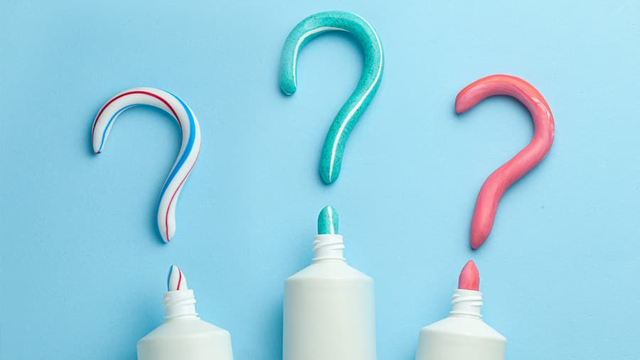 Toothpaste tube with question mark