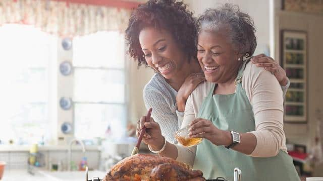 Mother and daughter basting turkey
