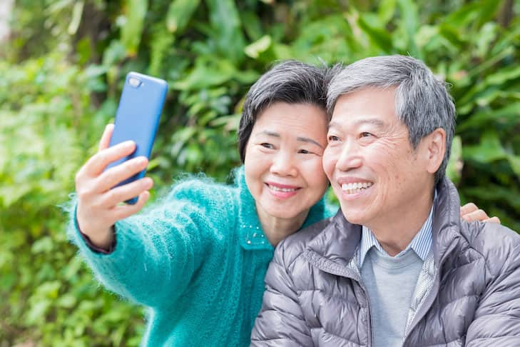 old couple selfie happily