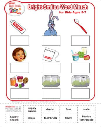 Bright Smiles Oral Health Printable Word Match Game (Ages 5-7)