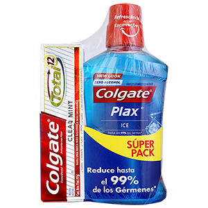 Enjuague Bucal Colgate<sup>®</sup> Plax Ice + Total 12 Clean Mint